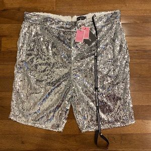 NWT PRETTYLITTLETHING PLUS SILVER SEQUIN SHORTS